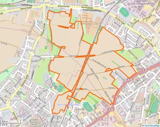 Openstreetmap-Karte vom Messdorfer Feld