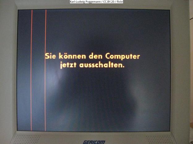 Windows XP-Meldung: Sie können den Computer jetzt ausschalten