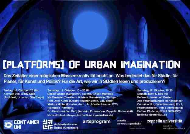 Einladungsposter zum Symposium: [PLATFORMS] of Urban Imagination am 10./11. Oktober 2014 in Friedrichshafen