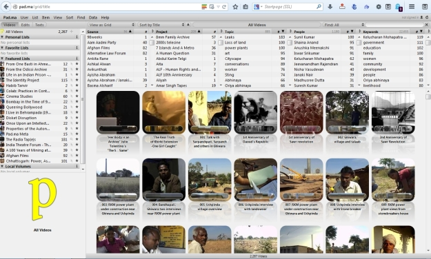 Screenshot der Webseite von Pad.ma (Public Access Digital Media Archive)