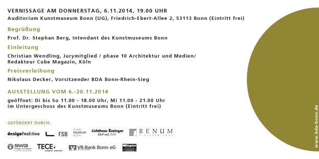 Einladungskarte des BDA Bonn/Rhein-Sieg für die Auszeichnung guter Bauten 2014