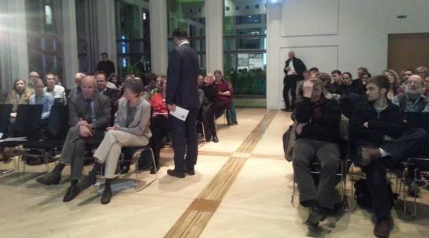 Blick vom Podium des Expertengesprächs Zukunftsstadt im Bonner Universitätsforum