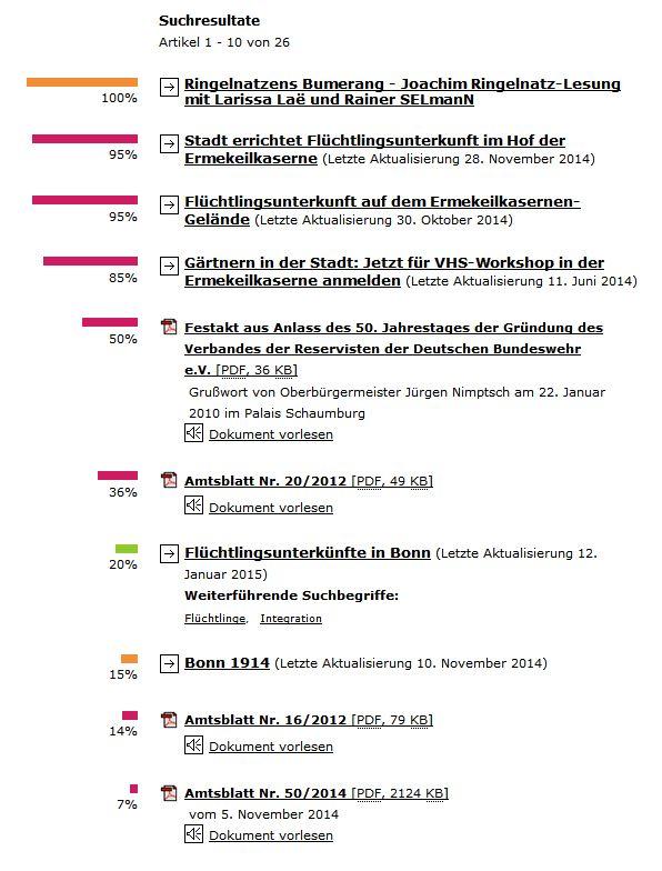 """Screenshot der Suche nach dem Begriff """"Ermekeilkaserne"""" auf der Webseite bonn.de am 13. Januar 2015"""