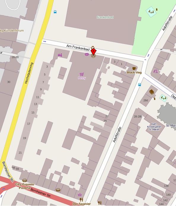Kartenausschnitt aus OpenStreetMap mit Ansicht des Baublocks Am Frankenbad, Adolfstr., Bornheimer Str., Hochstadenring.