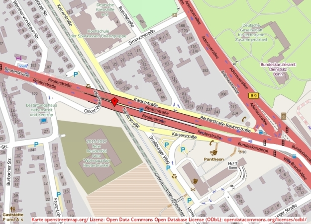 Kartenausschnitt aus openstreetmap.org mit Reuterbrücke, Bonn-Center und ehem. Bundeskanzleramt