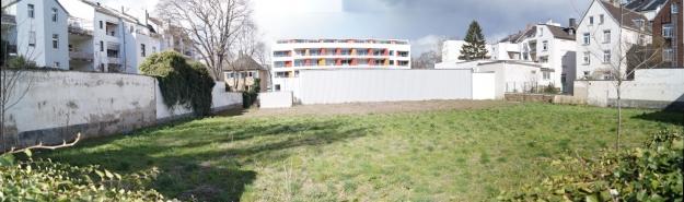 Panorama-Bild von Fläche im Innenhof eines Baublockes in der Bonner Altstadt