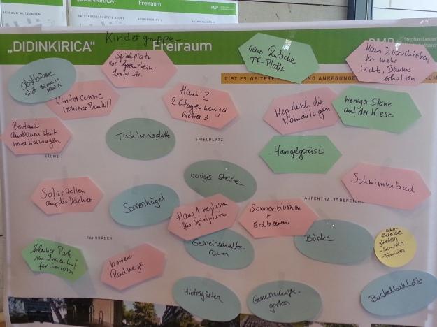 Foto der Pinwand mit Ideen der Kindergruppe beim Kommunalcafé zur Wohnsiedlung Didinkirica in Bonn am 16.6.2015.