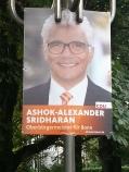 Foto eines Wahlplakats von Ashok Sridharan zum OB-Wahlkampf 2015 in Bonn