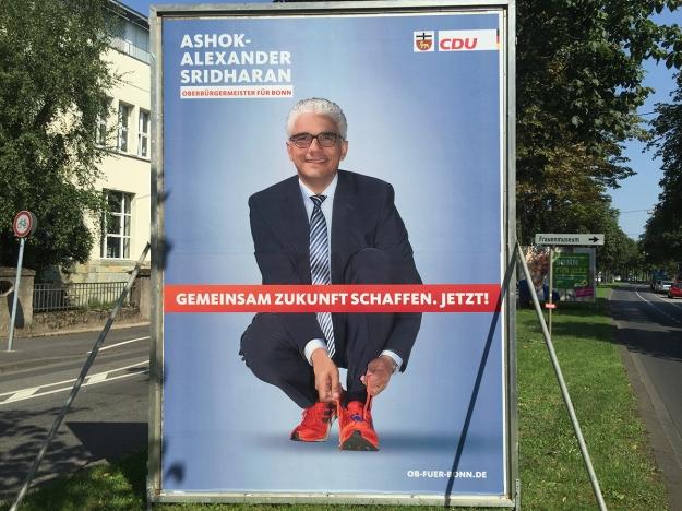 Foto eines Grossplakats von Ashok Sridharan, CDU, zur OB-Wahl 2015 in Bonn
