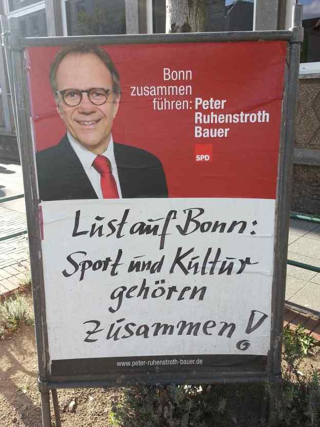 Foto eines Wahlkampfplakats von Peter Ruhenstroth-Bauer (SPD) zur OB-Wahl 2015 in Bonn