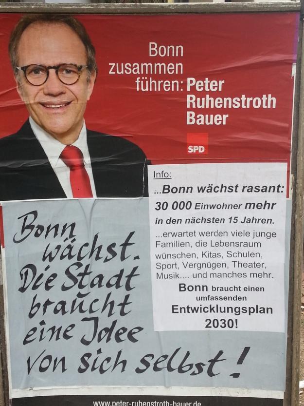 Foto eines Wahlplakates von Peter Ruhenstroth-Bauer, SPD, für den OB-Wahlkampf in Bonn 2015