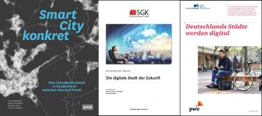 """Abbildung der Buchcover von """"Smart City konkret"""", """"Die digitale Stadt der Zukunft"""" und """"Deutschlands Städte werden digital"""""""