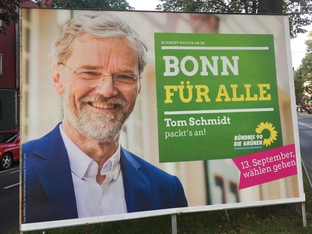 Foto eines Grossplakats von Tom Schmidt, Bündnis 90 / Die Grünen zur OB-Wahl 2015 in Bonn