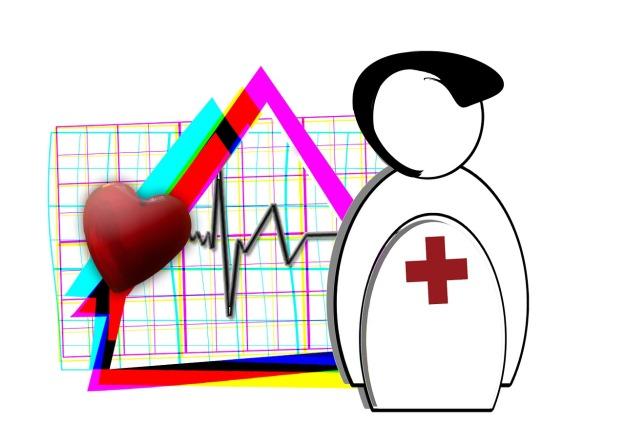 Zusammengefügtes digital gezeichnetes Bild einer Arztfigur, eines Herzens, eines Hauses und einer Pulsfrequenz