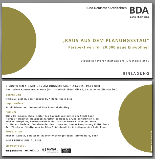 "Einladungskarte BDA Bonn-Rhein-Sieg für Podiumsdiskussion am 1.10.2015 ""Raus aus dem Planungsstau""; Moderation: Michael Lobeck"