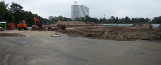 Panorama-Foto von der Baustelle an der Reuterbrücke zum Wohnungsbauvorhaben der Garbe Bonn GmbH & Co.KG, Hamburg.