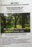 """Flugblatt der Bürgerinitiative """"Rettet die Amerikanische Siedlung Plittersdorf"""" (RASP), S. 1"""