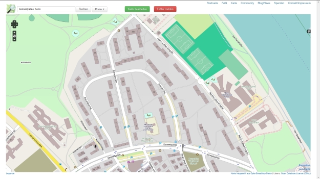 OpenStreetMap-Karte der Amerikansichen Siedlung Bonn