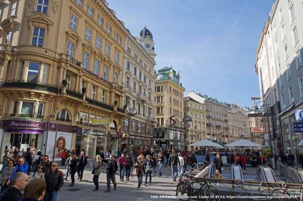 Foto Innenstadt Wien mit Passanten