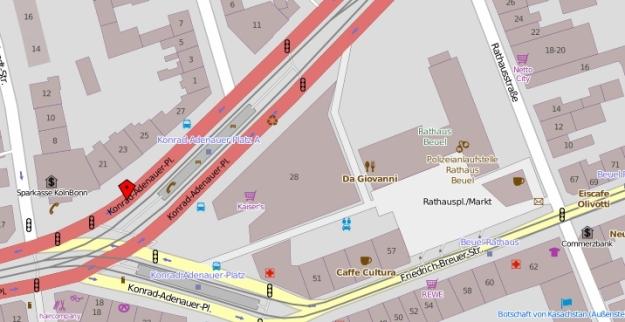 Kartenausschnitt aus openstreetmap.org vom Konrad-Adenauer-Platz, Bonn-Beuel