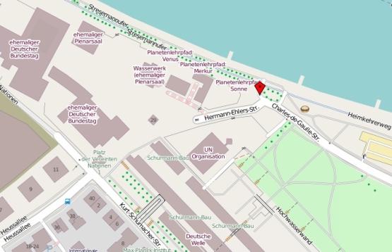 Kartenausschnitt aus openstreetmap.de mit Treffpunkt Stresemannufer, Bonn
