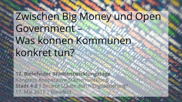 Titelseite des Vortrags von Michael Lobeck bei den 12. Bielefelder Stadtentwicklungstage: Stadt 4.0 | Smarte Städte durch Digitalisierung? am 17. Mai 2017