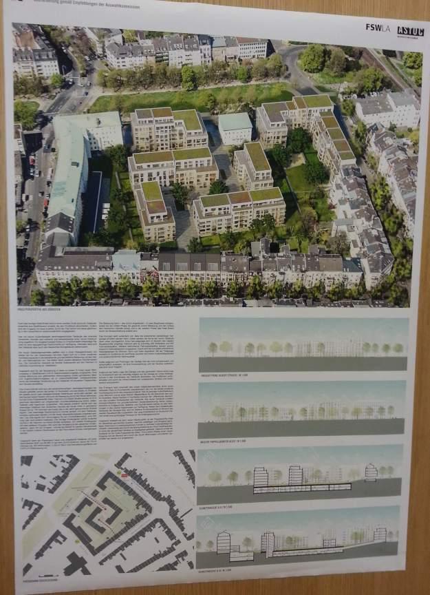 Foto eines Plans von ASTOC Architects and Planners zur zukünftigen Entwicklung auf dem Gelände der Zurich-Versicherung Bonn