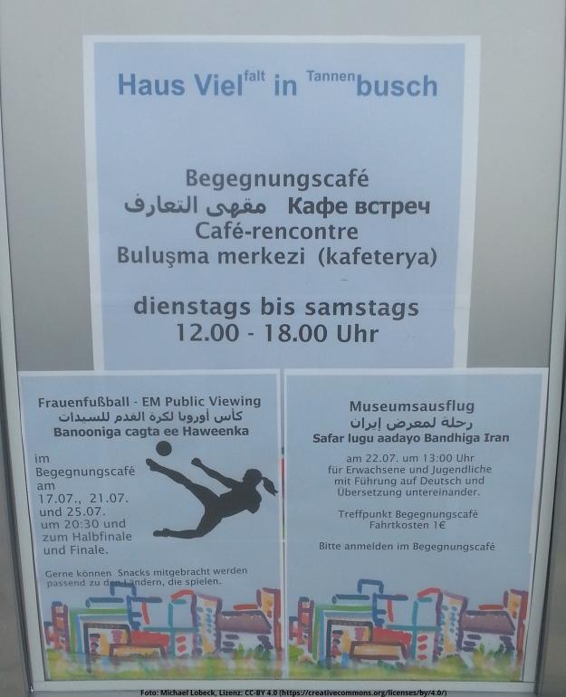 Foto eines Plakats des Haus Vielfalt mit Infos zum Begegnungscafe, zum Frauenfussball und zum Museumsausflug in Bonn-Tannenbusch am 15.7.2017