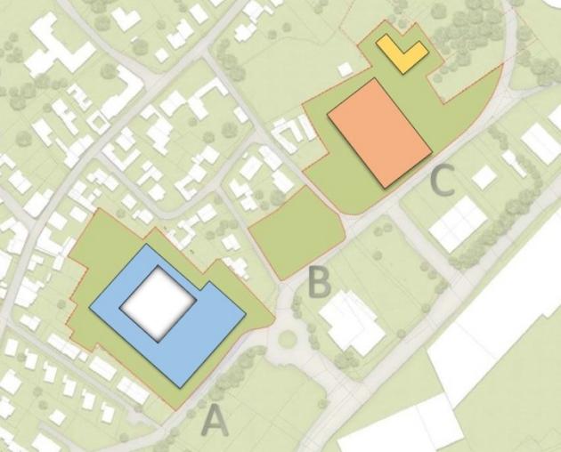 Die Grafik stellt einen städtebaulichen Entwurf für die geplante Freie Christliche Gesamtschule in Alfter-Oedokoven dar