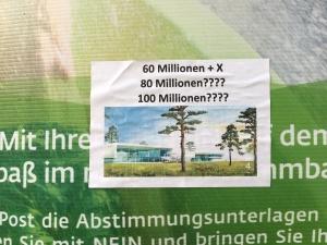 Foto eines Aufklebers auf einem Plakat von Horst Burbulla zum Bürgerentscheid über ein neues Schwimmbad in Bonn
