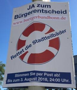 Foto eines Plakates des BürgerBundBonn zum Bürgerentscheid über ein neues Schwimmbad in Bonn