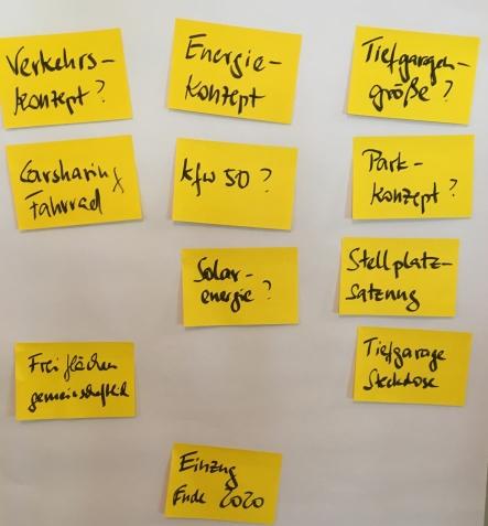 Foto der Notizen aus der Diskussion zum Wohnbauprojekt Schumanns Höhe der Instone Real Estate in Endenich