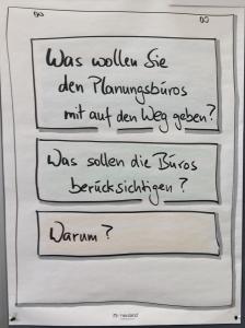 """Foto eines Flipcharts mit den Fragen der Arbeitsgruppen im Bürgerforum Heidelberg am 17.7.18: """"Was wollen Sie den Planungsbüros mit auf den Weg geben?"""", """"Was sollen die Büros berücksichtigen?"""", """"Warum?"""""""