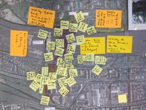 """Foto eines Luftbildes von Heidelberg mit Anmerkungen aus dem Arbeitskreis """"Stadtbild"""" des Bürgerforums am 17.7.2018"""