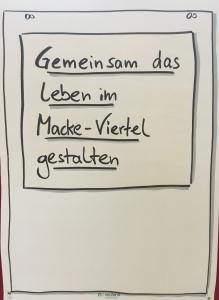 """Plakat mit dem Thema der Stadtteilkonferenz im Macke-Viertel am 10.11.2018: """"Gemeinsam das Leben im Macke-Viertel gestalten"""""""