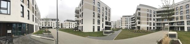 Foto des Bauvorhabens Südstadtgärten in Bonn-Kessenich, Panoramaaufnahme vom Eingang der Kindertagesstätte aus